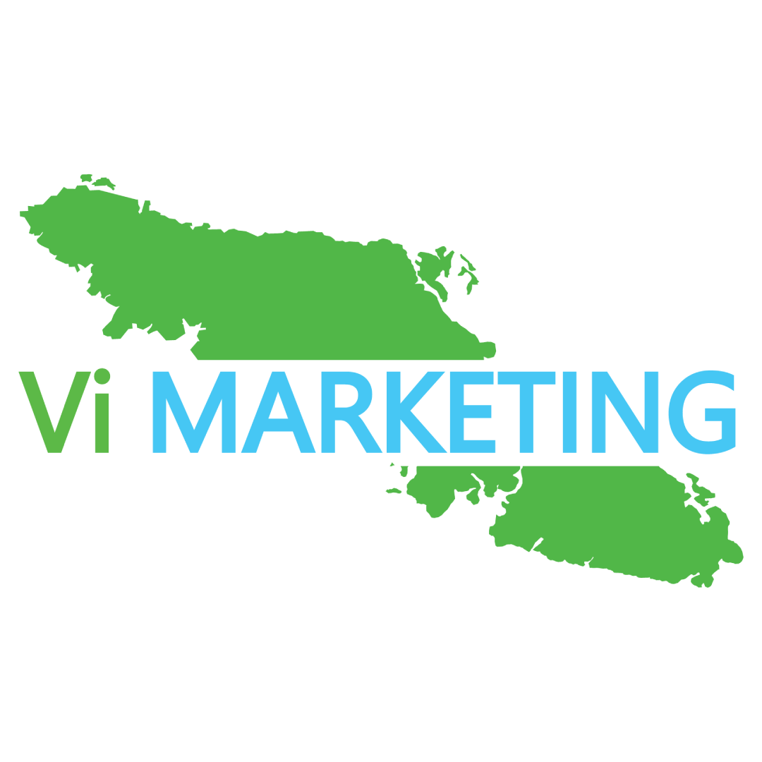 "Vi Marketing logo with the ""vi"" in light green, ""marketing"" in capitalized letters and light blue. All text running though a rectangular crop out of a light green Vancouver Island. This is for Vi Marketing's marketing and web design services."